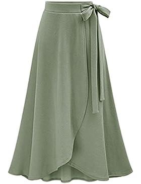 Las Mujeres De Color Solido De La Cintura Alta Plisadas Faldas Medio Corto Talla Grande Faldas Midi Verde 3XL