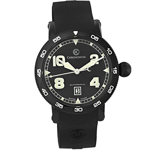 Chronoswiss Men's 44mm Black Silicone Band Steel Case Automatic Watch...