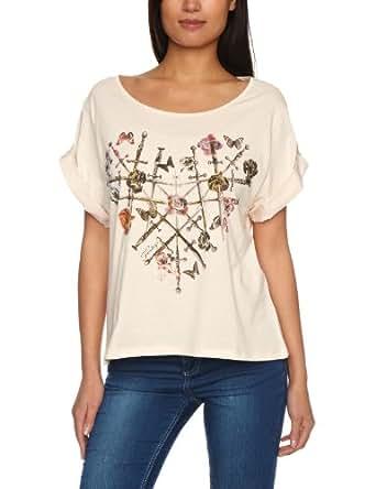 Firetrap Mellow-Heart Printed Women's T-Shirt Almond Small