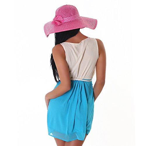Fashion -  Vestito  - Sera  - Basic - Senza maniche  - Donna beige-hellblau