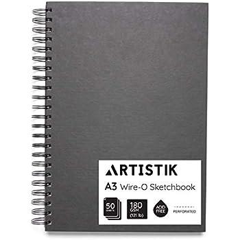 40 Wire Bound Black 180gsm pages A4 Portrait Daler Rowney Ebony Sketchbook