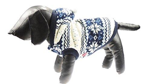 Marineblau Festive Weihnachten Snow Flake/FAIRISLE-Design Pullover hoodie mit Pom Pom Kapuze (Pom Bootie)