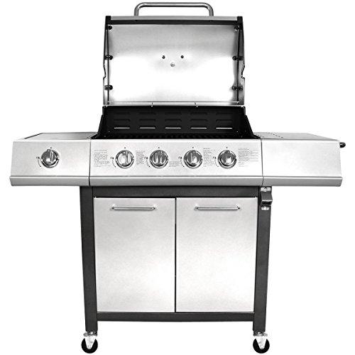 Charles Bentley 5 Burner Premium Gas Bbq Steel Barbecue With Lockable Wheels & Auto Ignition (4 x Burners and 1 x Side Burner) Titanium Grey