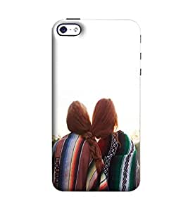 Omnam Two Girl With Hair Binded With Each Other Printed Designer Back Case Apple iPhone 4/4S