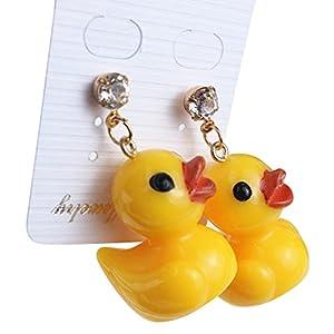 Bluelans® Ohrstecker mit gelber Ente, hängend, für Frauen, Charmantes Schmuckgeschenk, gelb, Einheitsgröße