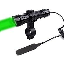 """Windfire impermeable Cree Luz Verde LED Coyote Hog Hunting linterna táctica Luz Lámpara Linterna con interruptor de presión y soporte de 1""""alcance para caza (18650batería y cargador incluido)"""