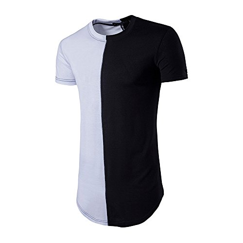 rt Für Herren, Fashion Personality Men's Casual Slim Patchwork O-Neck Short Sleeve T Shirt Jogging Yoga Männer Tops Blouse (L, Weiß) (Herren Wwe Kostüme)