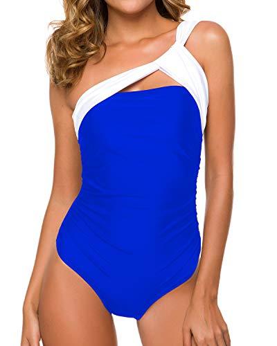 ColorSun Monokini für Damen, einteilig, gerüscht, eine Schulter, bescheidene Bauchkontrolle - Blau - Large (Peplum One Piece Swimsuit)