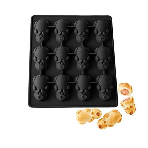 Jxxz Silikonform für 12 kleine Hohlräume in Schweine-Form, für Fondant, Zucker, Gelee, Schokolade, Süßigkeiten, zum Backen, Dekorieren, Pink Schwarz