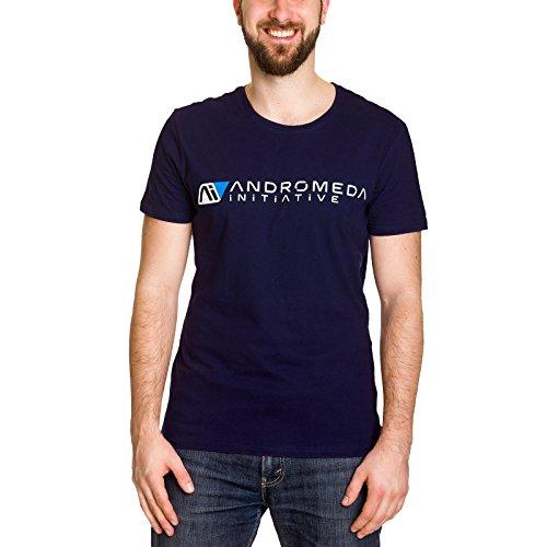 Camiseta de hombre de Mass Effect Andromeda Initiative, azul algodón - XXL