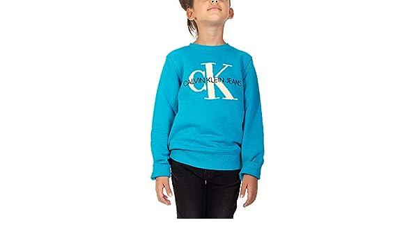 Calvin Klein Felpa Bambina Logo Colore Verde Acqua