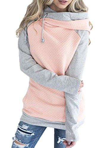 Woweal Damen Kontrastfarbe Pulli Pullover Rollkragen Sweatshirt Kapuzenpulli Top Hoodies, Rosa, M