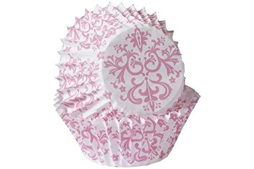 -Förmchen, 100 Stück, Mini-Größe, für Küche, Backen, Hochzeit, Geburtstag, Party, Muffin, Dessert, Kuchen, Petitis, Rosa Damast ()