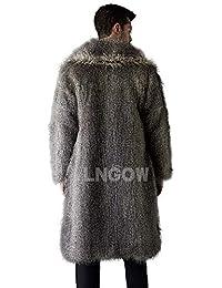 ad58a6df424e LNGOW Pelzmantel Kunst Felljacke Herren Leopard Muster Design Wind  Coat,Winterjacke Mantel Kunstpelz Lange Jacke