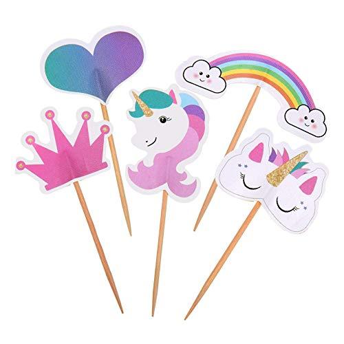 Lvcky - 48 Decoraciones de Unicornio para Cupcakes, diseño de corazón arcoíris, para decoración de Tartas de cumpleaños, Fiestas temáticas