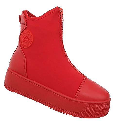 Damen Stiefelette Plateau Schuhe High Heels Kurzschaft Ankle Booties Rot 39