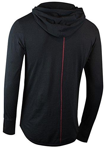 trueprodigy Casual Herren Marken Long Sleeve einfarbig Basic, Oberteil cool und stylisch mit Kapuze (Langarm & Slim Fit), Langarmshirt für Männer in Farbe: Schwarz 1063144-2999 Black