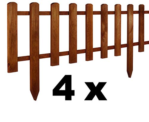 Floranica® 4 x Vorgarten Zaun aus Holz, wetterfest imprägniert - Steckzaun, Minizaun, Zierzaun als Gartenzaun, Lattenzaun, Farbe:braun, Größe:30 cm hoch. 4x105 cm lang