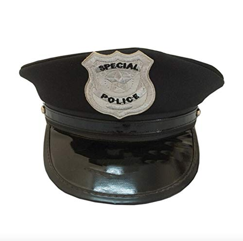 thematys Polizei Mütze Hut in schwarz - Police Cap für Erwachsene perfekt für Karneval, Halloween & ()