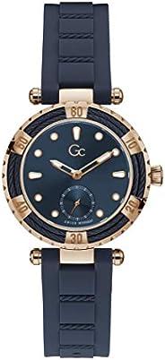 Gc Womens Quartz Watch, Analog Display And Silicone Strap - Y41006L7MF