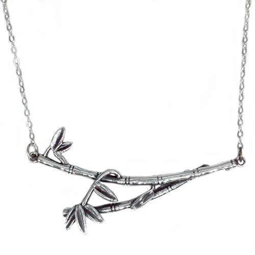 Helen de Lete Original Bambus Knoten Baum Blatt Zweig 925 Sterling Silber Halsband Halskette (Bambus Halsband)
