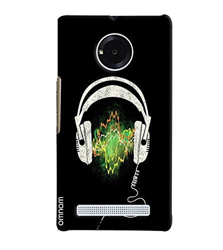 Omnam Printed Headphones with Black Background Backcover for Micromax Yuphoria