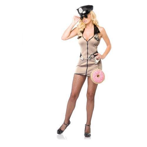 Adult Dirty Kostüm - Leg Avenue - Dirty Deputy Kostüm 4-teilig - SM - Beige - 83541