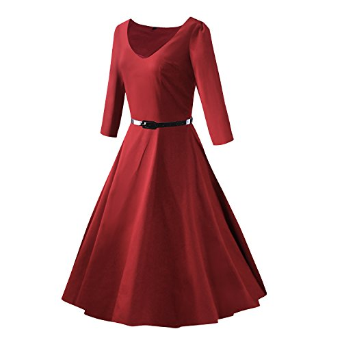 iLover 1950s Vintage 3/4 sleeves WesterGirl Print Robe de Cocktail Style Audrey Hepburn Rockabilly Robes de swing WineRed1