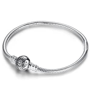 glamulet Clip Rond Classique Bracelet en argent sterling 925pour bracelets Pandora Chamilia 20cm