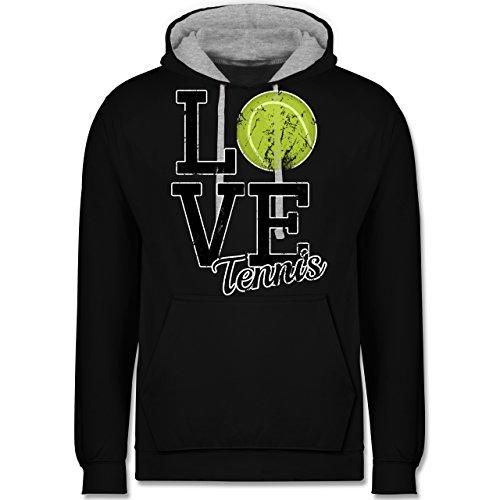 Tennis - Love Tennis - Kontrast Hoodie Schwarz/Grau Meliert