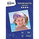 AVERY - 50 feuilles de papier photo 200g/m² brillant, Format A4, Impression jet d'encre,