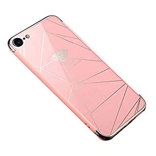 Felfy Mirror Case for iPhone 8 Plus,iPhone 7 Plus Case Glitter,Luxury Silicone Glitter Rubber Quadrilateral Design Electroplating Cover Case with [Anti-Scratch]+[Abrasion Resistance]+[Drop Protection] Makeup Mirror Effect Ultra-Thin Slim Fit Acrylic Meterial Sparky Shiny Bumper Skin Protective Cover for iPhone 7 Plus/8 Plus 5.5'' + 1 Silver Stylus Pen + 1 Dust Plug.Quadrilateral Pink