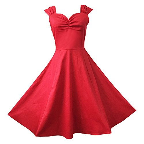 Dissa M114618D Vintage pin-up 50s robe de soirée,bal cocktail Rockabilly Swing,S-XXL Rouge