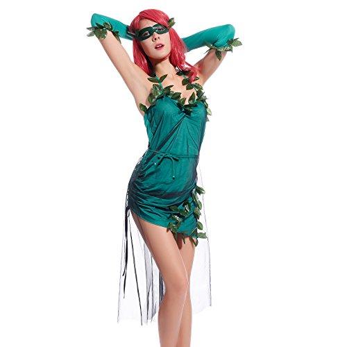 Sexy Cosplay Costume Donna Travestimento da Poison Ivy Gotham City Batman Carnevale Fancy Dress Taglia M