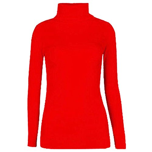 Fashion Valley Womens Plain Long Sleeve Turtle Polo Neck Top Ladies Roll Neck Top Jumper 8-26 UK S/M 8-10 Red