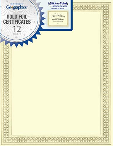 Geographics Flourish Premium ZERTIFIKATE (Gold Folie), 21,6x 27,9cm 12/PACK (45492) (Gold-folie-zertifikat Dichtungen)
