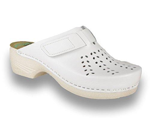 LEON PU161 Komfortschuhe Lederschuhe Pantolette Clog Damen, Weiß, EU 37