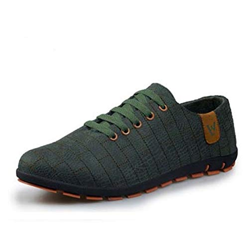 Spring/Summer Men Shoes Breathable Mens Shoes Casual Fashio Low Lace-up Canvas Shoes Flats Zapatillas Hombre Plus Size 47 Dark Green 42