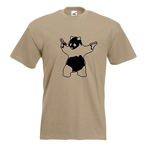 KIWISTAR - Panda with Guns T-Shirt in 15 verschiedenen Farben - Herren Funshirt bedruckt Design Sprüche Spruch Motive Oberteil Baumwolle Print Größe S M L XL XXL Khaki
