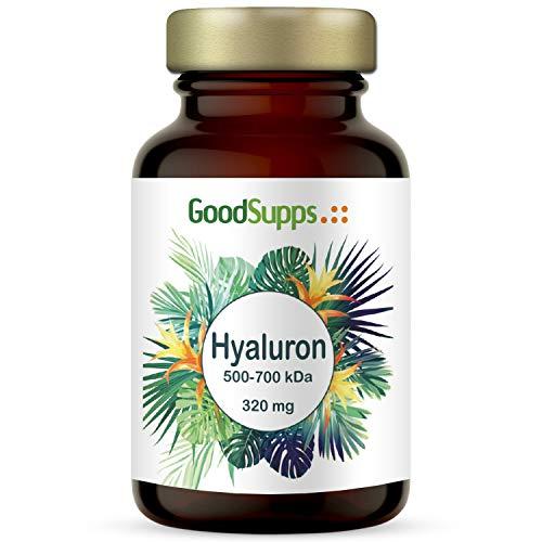 Hyaluronsäure Kapseln hochdosiert 320 mg | 90 vegane Kapseln | Zum Einführungspreis | Vorrat für 3 Monate | Ohne unerwünschte Zusätze | Made in Germany | Anti-Aging, Haut und Gelenke | GoodSupps