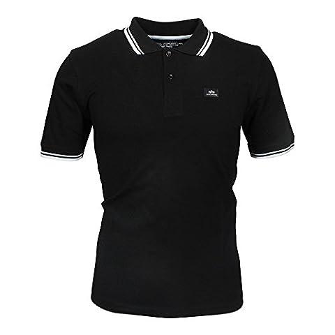 Alpha Industries Twin Stripe II Polo Shirt black/ white, Herren:M