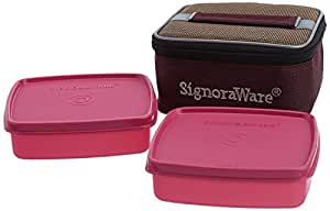 Signoraware Hot N Fresh Lunch Box with Bag, Pink