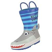 GEMVIE Boys 3D Cartoon Waterproof Rain Boots Rubber Printed Non Slip Wellies Wellington Rain Boots with Handles