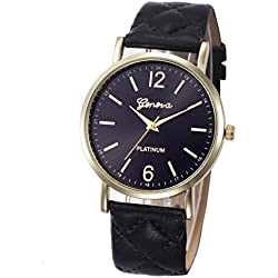 WINWINTOM Roman Leather Band Analog Quartz Wrist Watch Black