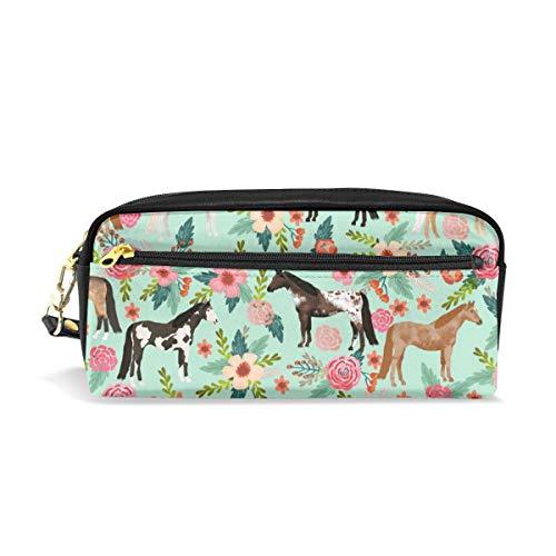 Pferd Multi Coat Floral Pferde Stoff Mint_696 Kosmetiktaschen Federmäppchen Tragbare Reise Make-up Organizer Multifunktions Tasche Taschen für Frauen -