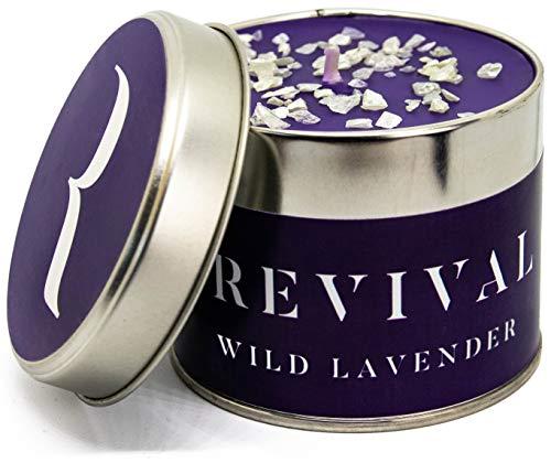 Belebende Wilder Lavendel Stressreduzierende Luxus Kerze - Wunderschön aufgegossen mit süßen und warmen natürlichen, ätherischen Ölen - 45 Stunden Brennzeit -