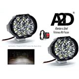 A2D L3-9 LED Precision Diamond Cut Reflector Transformer Bumble Bee Style Bike Fog Light Lamp Assembly White Mini Set of 2 + Switch for Yamaha YZF-R15 S