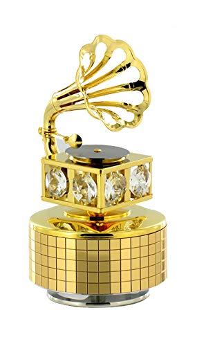 Caja de música / caja musical animada de metal dorado en forma de fonógrafo con cristales Swarovski (Ref: 12307) - La vie en rose - La vida en rosa (Louiguy / Edith Piaf)
