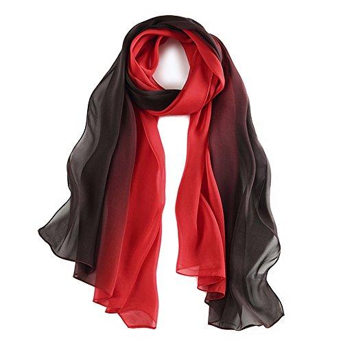 Seidenschal Damen Seidentuch 100% Seiden Schal Tuch Hautfreundlich Anti-Allergie 175 * 65cm (Schwarz Rot) MEHRWEG -