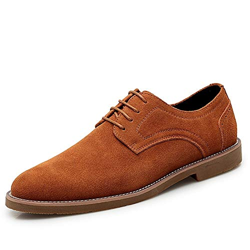 SHENNANJI Für Männer Business Oxford Loafer Schuhe Schnüren Faux Suede Erfahren Genähte Dämpfung Sohlen Round Toe Waxy Schnürsenkel Doppelte Einlegesohlen (Color : Braun, Größe : 43 EU) -